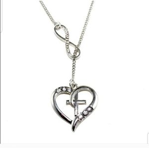Jewelry - Silver Heart Cross Infinity Necklace